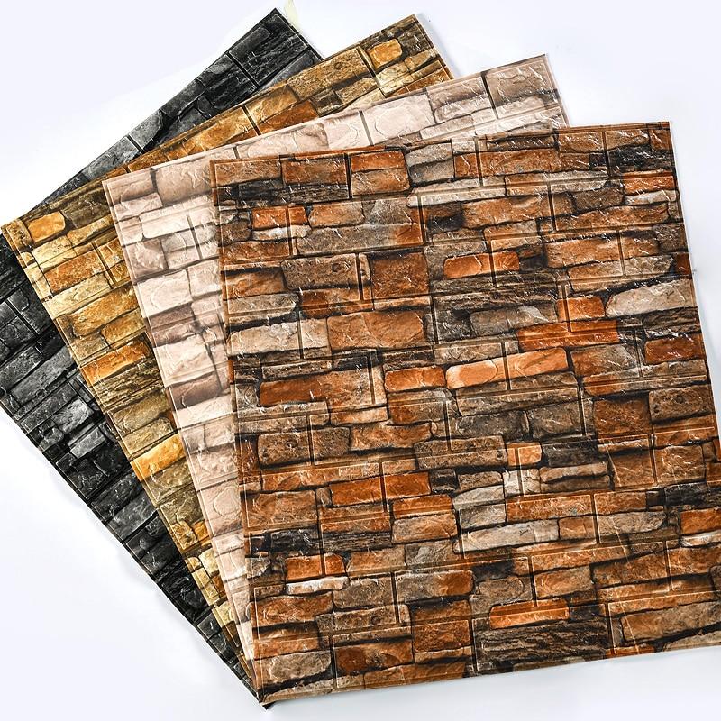 Home Wall Decor Retro 3D Brick Wall Stickers Bar Bar Restaurant Living Room Wall Decor DIY Self-adhesive Waterproof Wallpaper