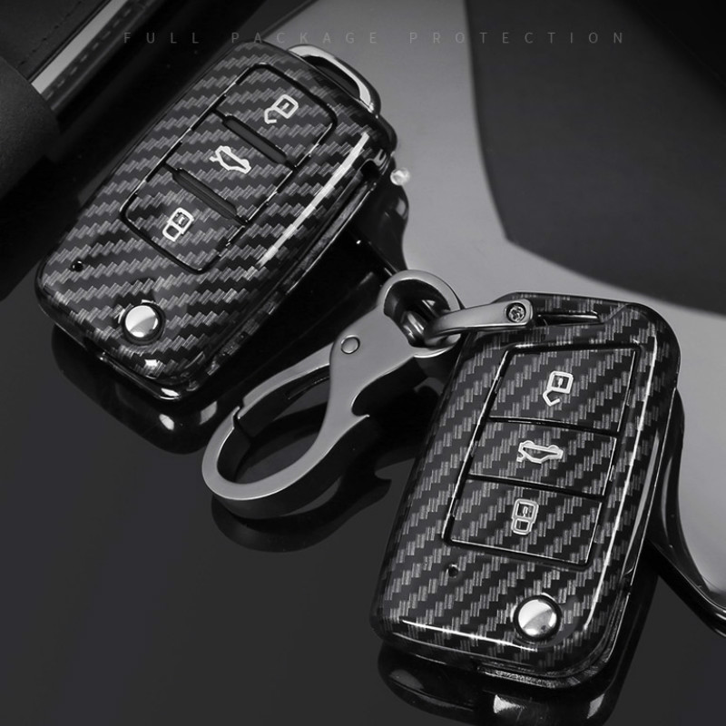 Carbon Fiber ABS Car Key Case For VW Volkswagen Polo Golf 4 5 6 7 T5 Passat B6 B5 Skoda Octavia A5 A7 Seat Leon Ibiza Ateca