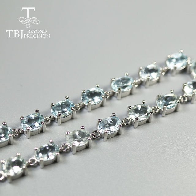 Tbj, brasil luz azul aquamarine pedra preciosa pulseira oval 5*7mm 17 peças 15ct natural pedra preciosa jóias 925 prata esterlina para senhora