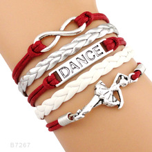 Infinity Love Dance Braceclets Ballet Dancer Dancing Girls Leather Braid Jewelry стоимость