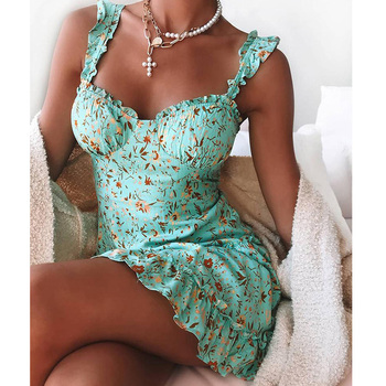 Green Floral Ruffle Trim Mini Dress Women Spaghetti Strap Slim Waist Big Hem Dress Bohemian Style Beach Dresses girls ruffle hem plaid dress