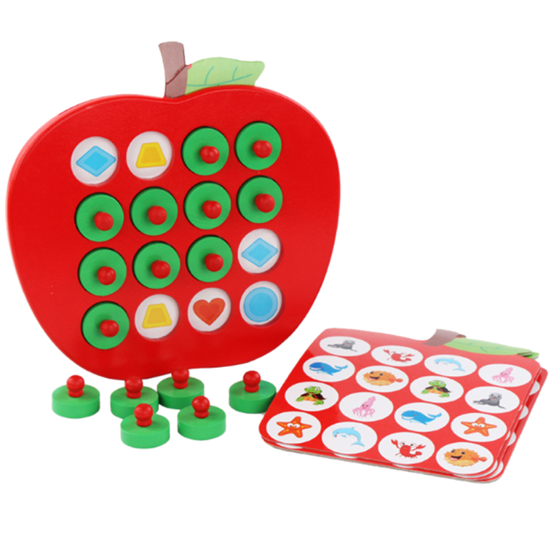 Kids Wooden Apple Memory Game Early Education 3D Puzzle Family Casual Games Puzzle