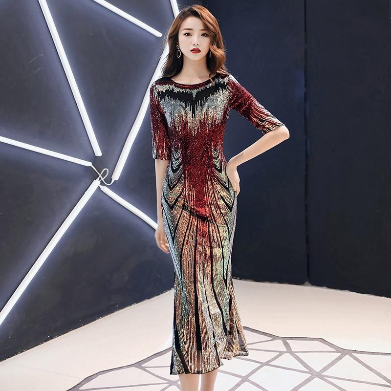 AE476 New 2020 Sequins Party Formal Dress Half Sleeve Mermaid O-Neck Elegant Women Formal Party Long Dresses