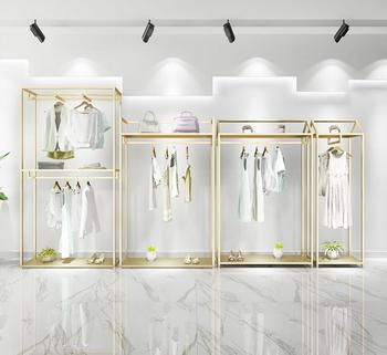 Gold clothing store display shelf floor type double layer hanging clothes shelf men's and women's clothing store decoration desi women s clothing store shelf hanger display rack floor style children s clothing store clothes rack horizontal bar gantry frame