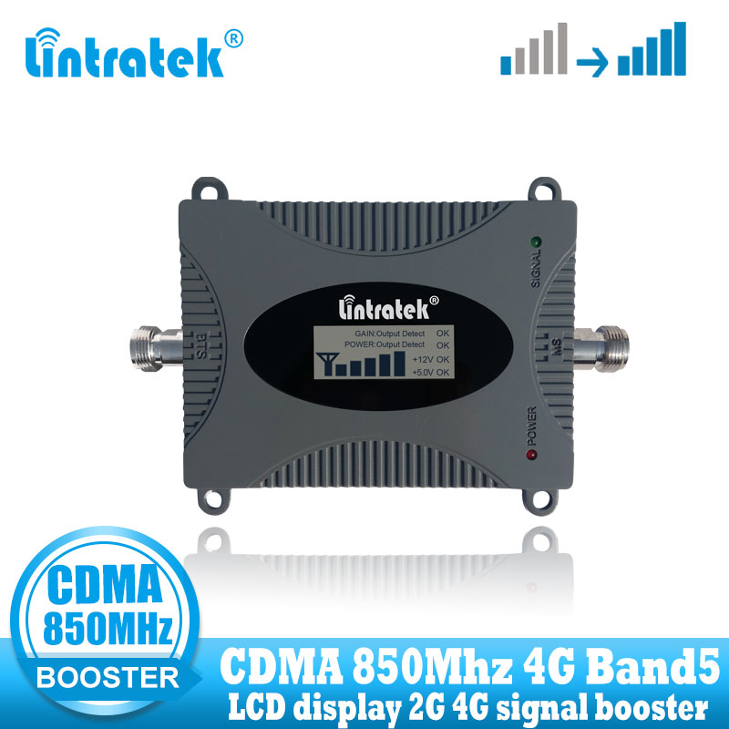 Lintratek CDMA 2G 850MHz Signal Booster Repeater Cellular Gsm 3g CDMA 850 MHz Mobile Phone Signal Amplifier With LCD Display