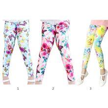 Moda Wild Baby Girls Leggings Niños Niños Pantalones Media cintura Floral