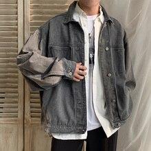 EWQ/männer tragen 2020 Frühjahr neue Schwarz denim Jacke Trend Lose Arbeit Kleidung oversize Lose Mantel für Männliche korean fashion 9Y1323