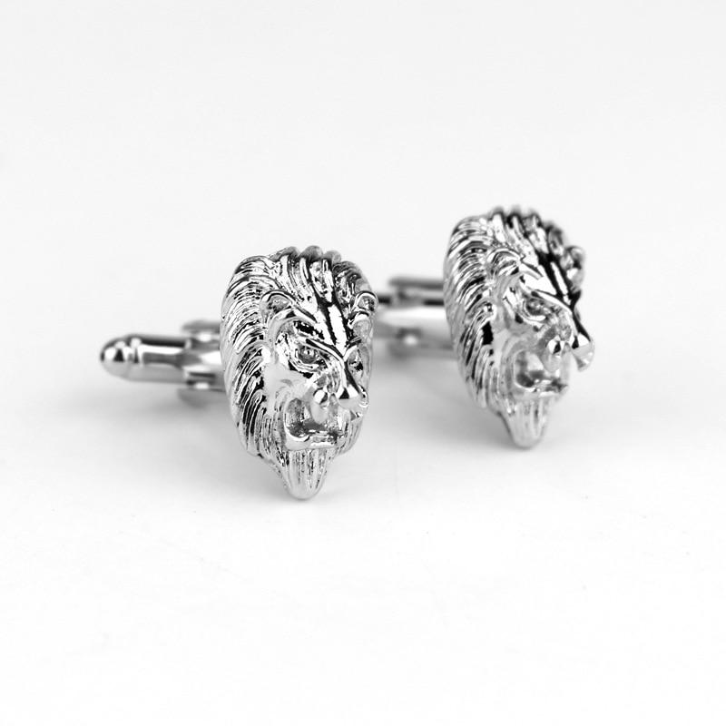 Cufflinks For Men 3D The King Of Forest Lion Head Cufflinks Jewelry Cuff Buttons Cool Cuff Links Pins Tie Clip&Cufflink