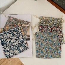 Хлопок хранение упаковка сумки шнурок сумка маленький монета кошелек путешествия женщины ткань сумка подарок сумка сумка 14x16 см