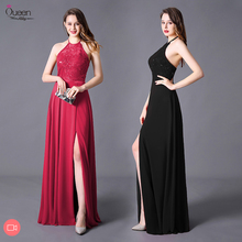 Evening Dress Split A line Halter Floor Length Sleeveless Backless Elegant Evening Party Gowns with High Split