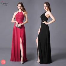 Evening Dress Split A-line Halter Floor Length Sleeveless Backless Elegant Evening Party Gowns with High Split