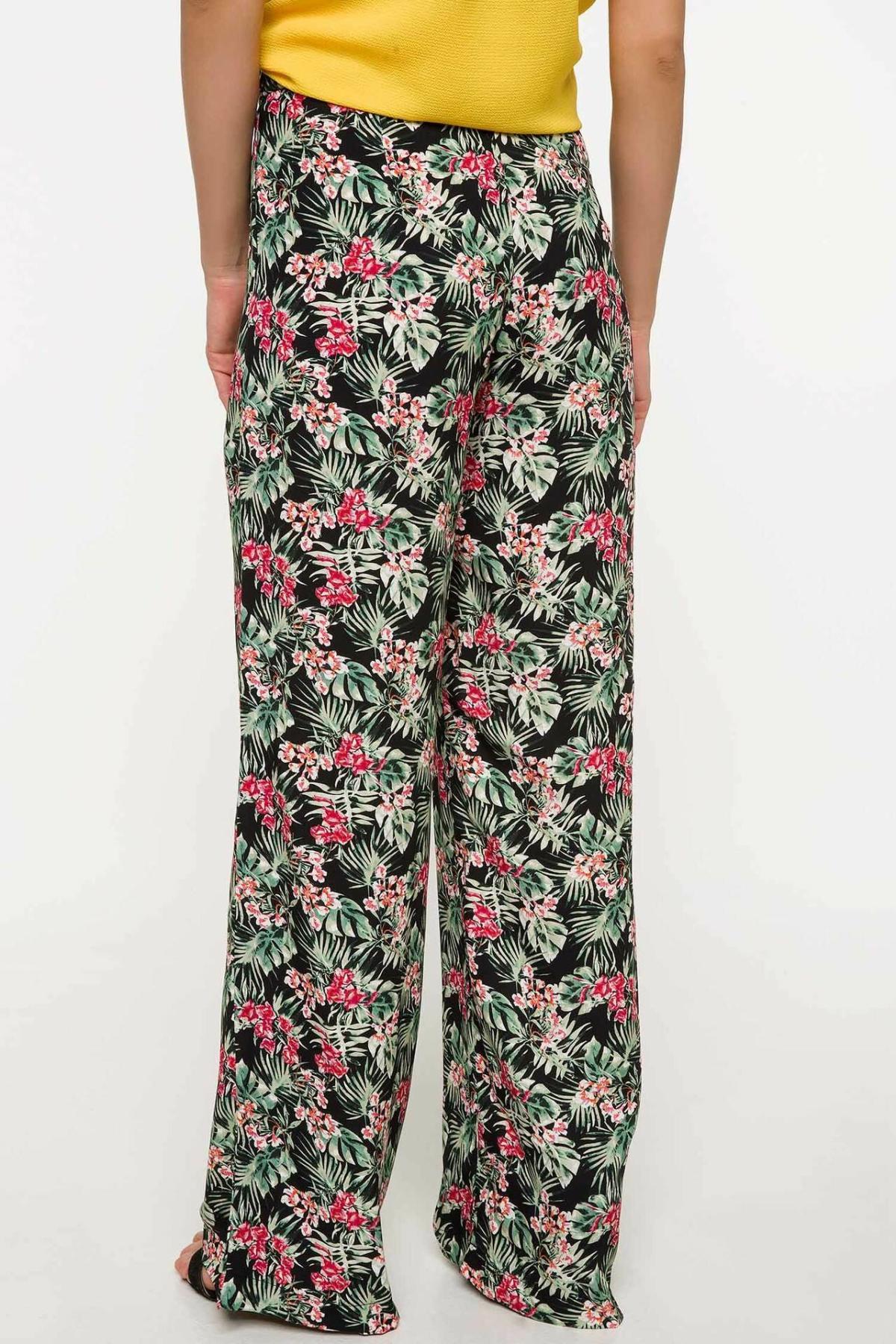 DeFacto Ladies Casual Trousers Female Fashion Comfort Wide-leg Pants Harajuku Print Long Pant Loose Simple New - J1708AZ18SM