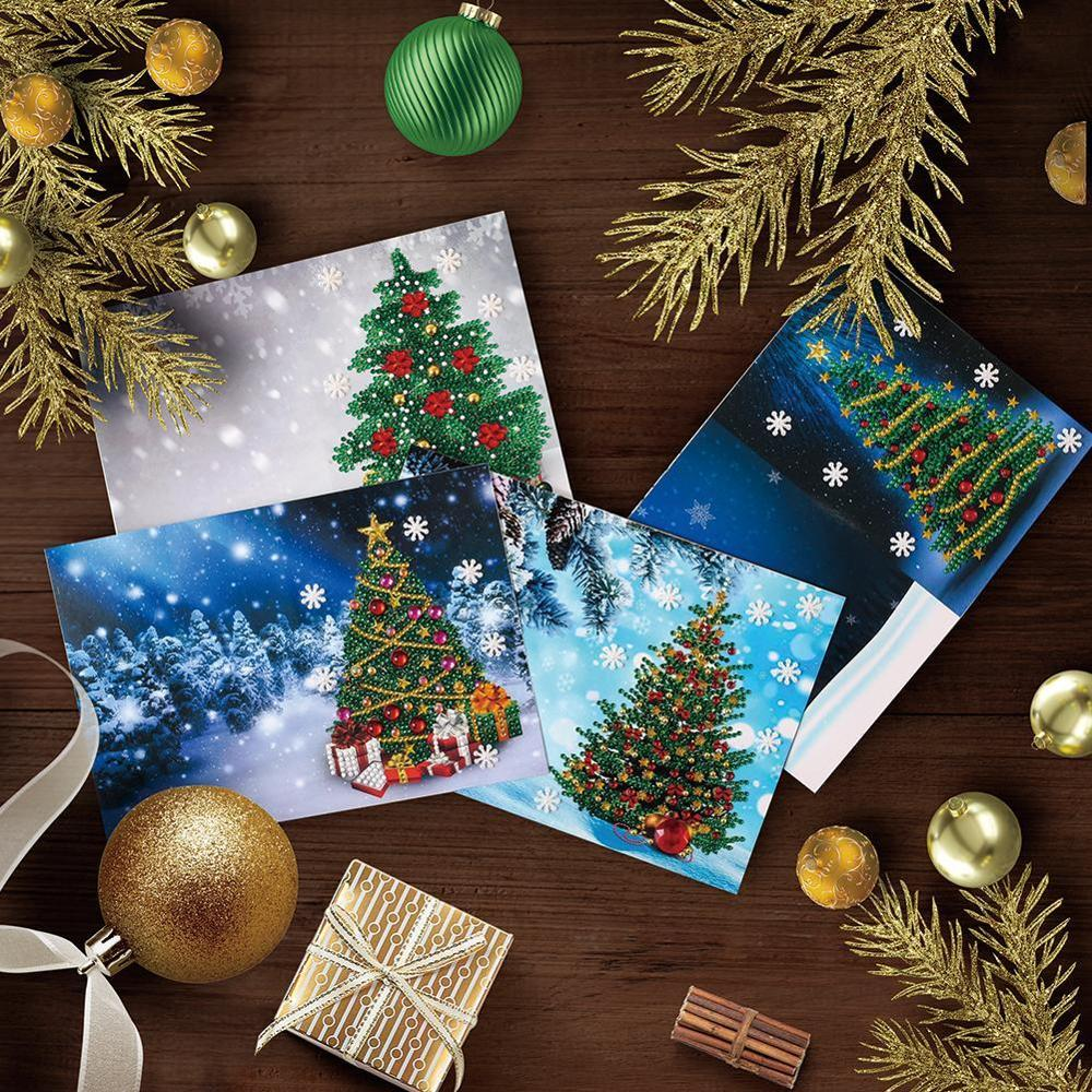 1pcs 5D Christmas Diamond Painting Number Kits, Snowman Santa Claus Reindeer And Christmas Tree With Rhinestone Embroidery