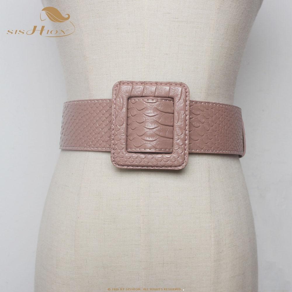 SISHION New Ladies Black Wide Waist Belt Faux Leather Belts For Women Dress Jeans QY0340 Vintage Belt Female