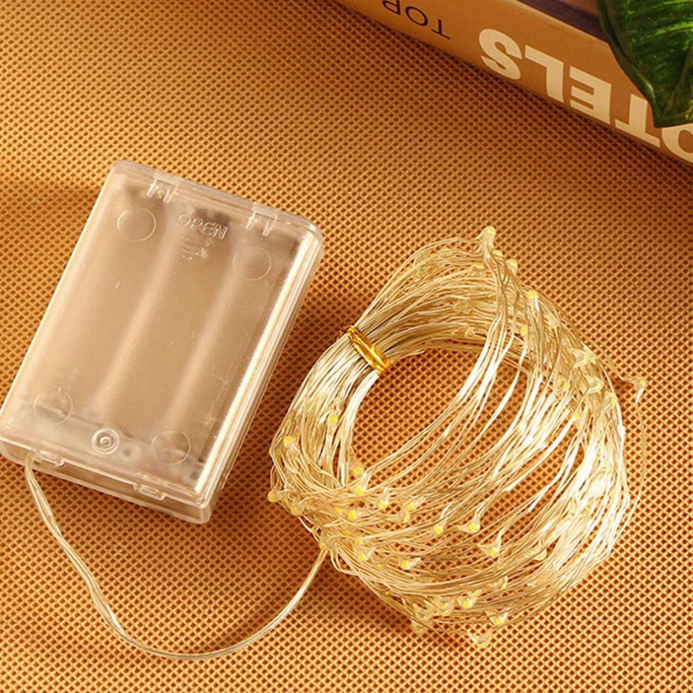 10 meters 100 lights led copper wire string Christmas lights silver wire string