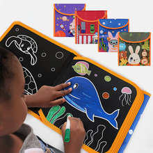 Kids Crafts Portable Water Drawing Board Eight-page Book Board Scratch Coloring Book DIY Blackboard