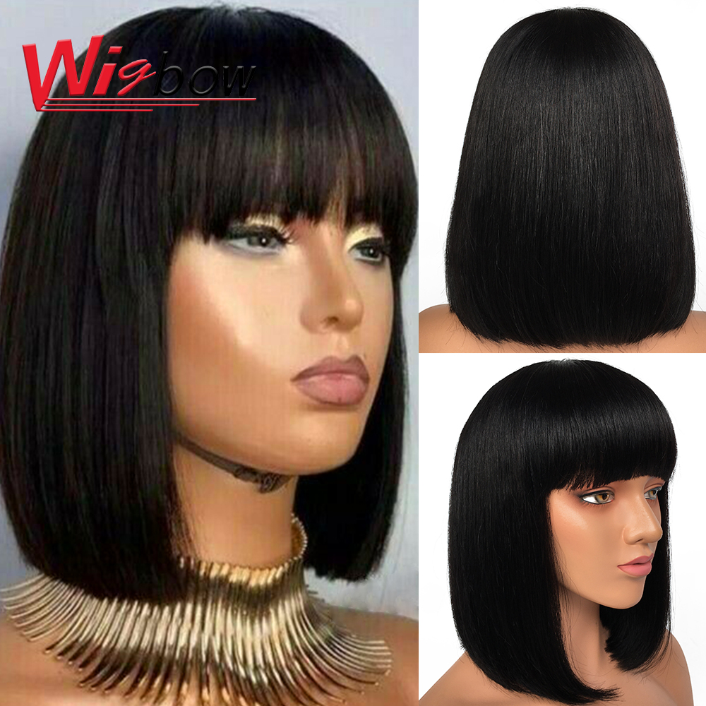 Pixie Cut Bob Wig Peruvian Remy Straight Short Bob Human Hair Wigs For Women Full Wig Ombre Red Blond Human Hair Wig With Bangs