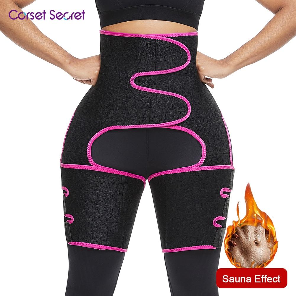 Corset Secret Neoprene Shaperwear Women`s High Waist Embossed Thigh Trimmer Tummy Control Sauna Effect Waist Trainer Belt