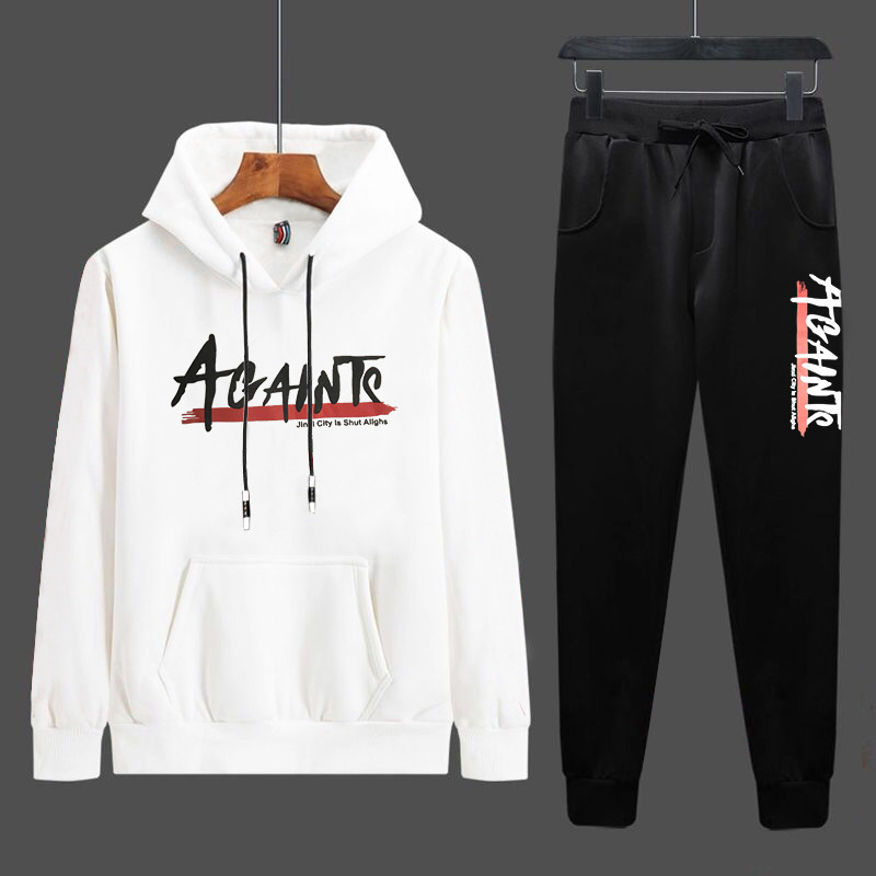 Spring And Autumn New MEN'S Suit Collocation Handsome Business Casual Students Korean-style Hooded Athletic Pants Fashion Long-s