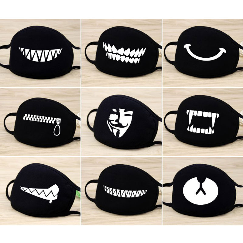 Unisex Personality Expression Mouth Mask Men And Women Fashion Dustproof Windproof Haze Sunscreen Cotton Breathable Cartoon Mask