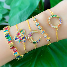 Heart Moon Bracelet Women Gold Color Chain Rainbow Baguette Cubic Zirconia Micro Paved Luxury Jewelry Tennis Bracelets Indian(China)