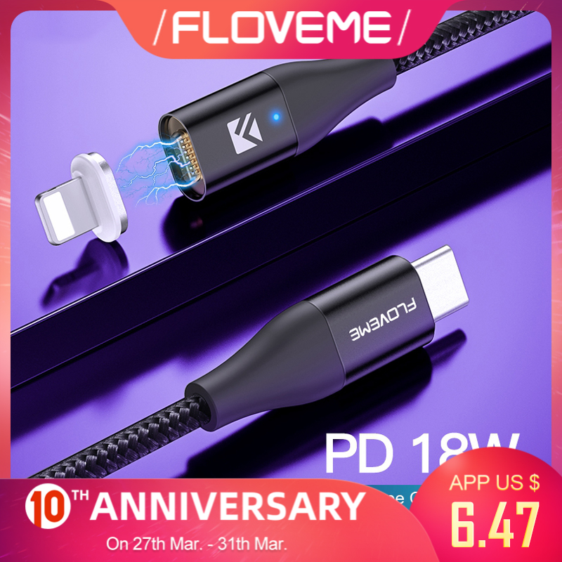 FLOVEME 18W PD 3.0 Type C To Lighting Cable Magnetic Charger For IPhone 7 8 X 11 USB C Data Cable For Apple Fast Charging  Wire