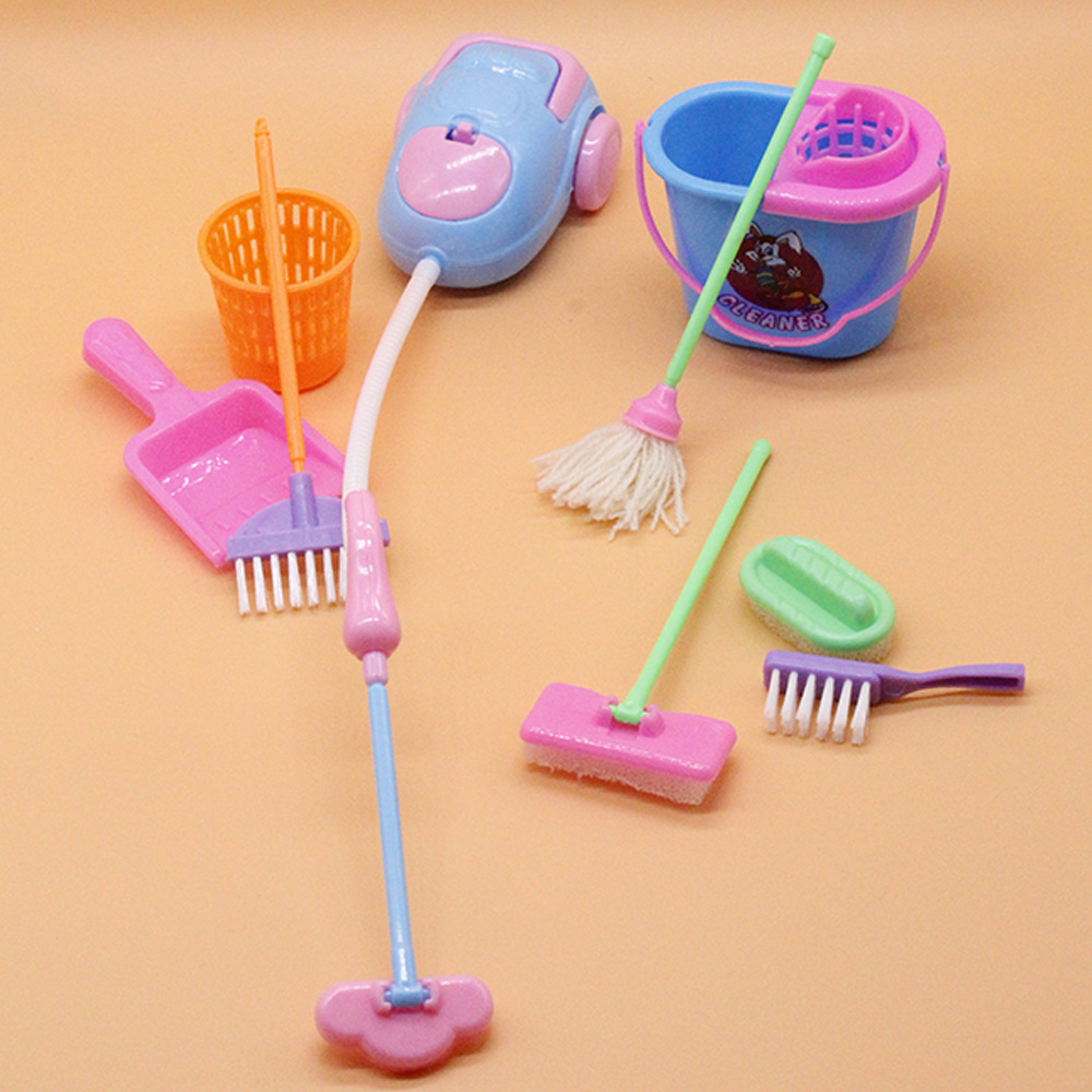 Dolls Cleaning Kit Educational Toy Household Cleaning Tools For Barbies Doll Accessories For Barbies Dollhouse Kids