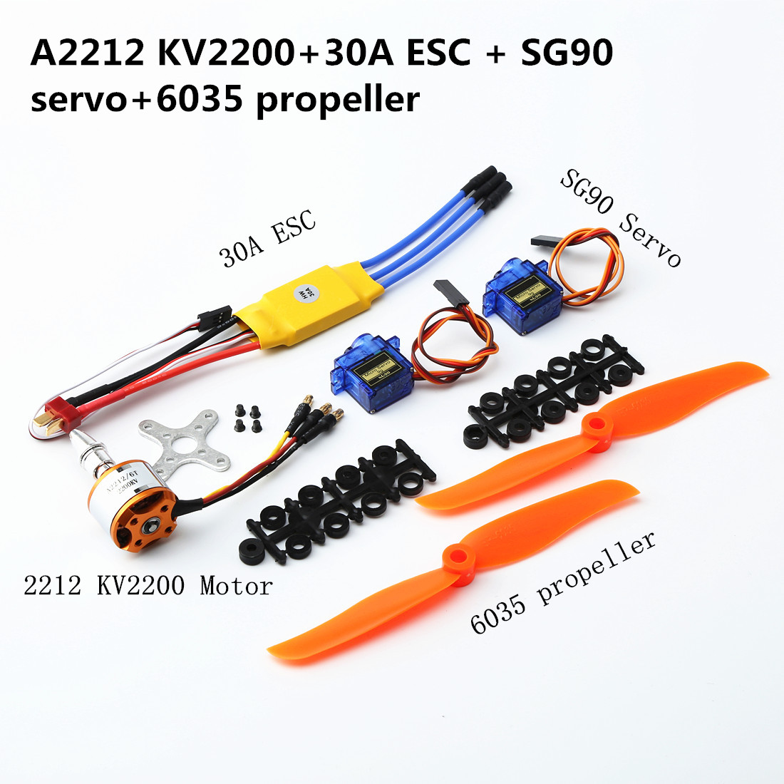 A2217/A2212  2200KV / 1000KV Brushless Motor 30A / 40A ESC SG90 9G Micro Servo  With T Plu For RC Fixed Wing Plane Helicopter