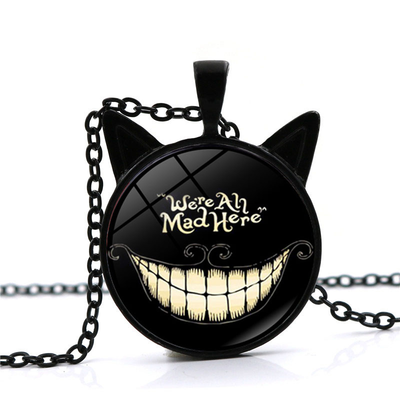 2021 New Fashion Alice Adventures In Wonderland Necklace Cheshire Cat Pendant Glass Cabochon Necklace We're All Mad Here Jewelry