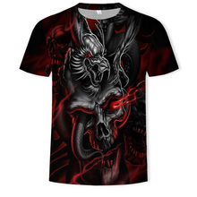 New Brand Mens Skull T shirts Punk StyleFire Dragon Skull 3D Printed  Tshirts Men Tops Hip Hop Funny Tees Tops Summer Clothes