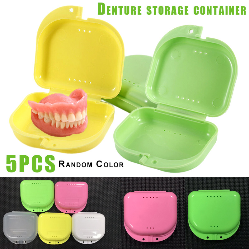 Hot Sale 5 Pcs Orthodontic Retainer Case Portable Denture Box Mouthguard Container With Holes