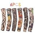 Защита от солнца для мужчин и женщин 6 шт., накладка на руку с имитацией татуировки, крутые УФ манжеты, спортивные эластичные чулки, грелки дл...