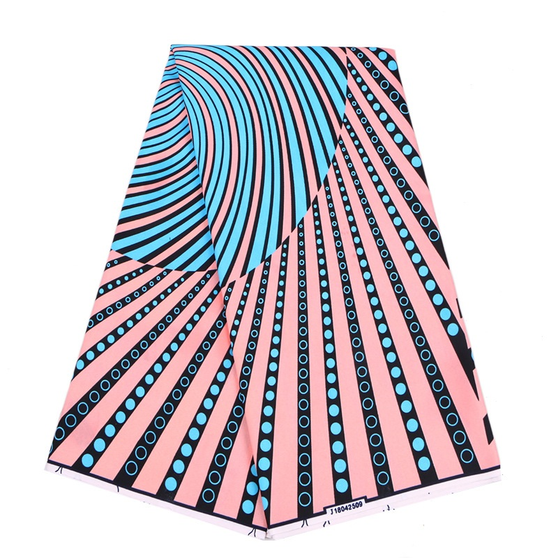 2019 Wax Fabric 100% Polyester African Nigeria Veritable Real Wax Pink & Sky-Blue Color Print Fabric 6Yards\lot