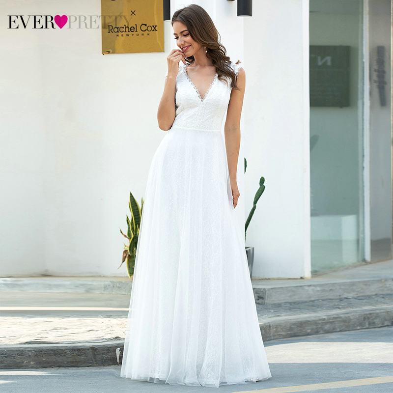 White Lace Wedding Dresses Ever Pretty EP00657CR A-Line Ruched V-Neck Cap Sleeve Elegant Formal Bride Gowns Vestido De Noiva