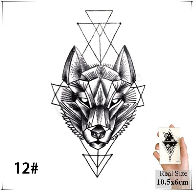 Geometry cool Temporary Tattoo Sticker Women Minimalist lines pattern Body Art New Design Fake Men Tattoos 2