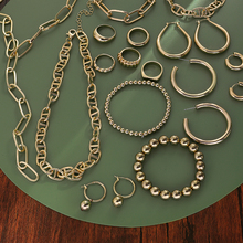 New Trendy Gold Metal Thick Link Chains Necklaces Bracelets for Women Minimalist Statement Collar Necklace Beaded Chain Jewelry
