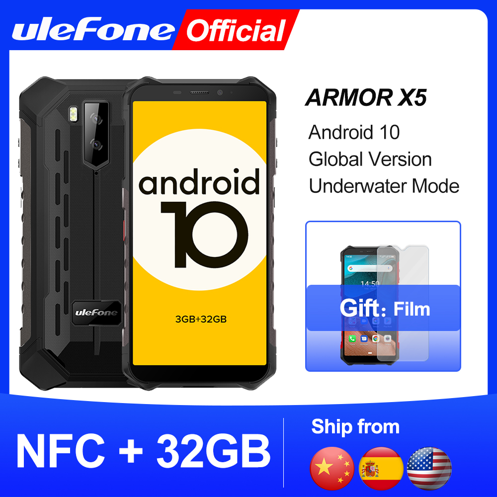 Ulefone Armor X5  Android 10 Rugged Waterproof  Smartphone IP68 MT6762 Cell Phone 3GB 32GB Octa core NFC  4G LTE Mobile Phone 1
