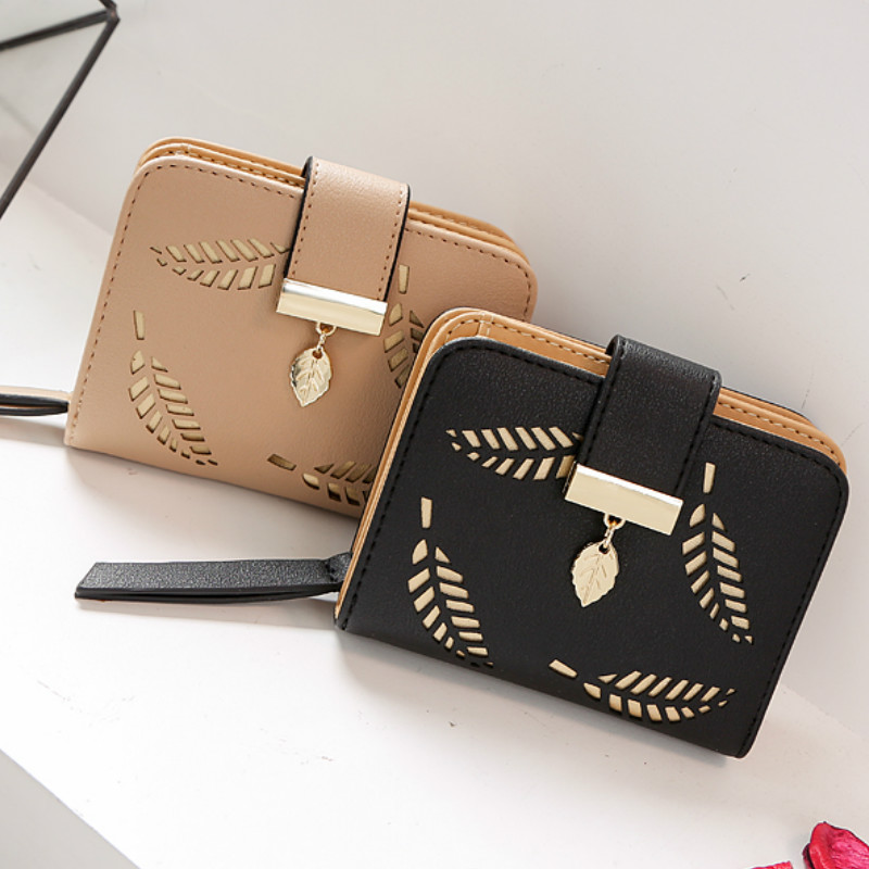 Fashion Women's Wallet Female Short Wallets Hollow Leave Pouch Handbag for Women Coin PU Leather Purses
