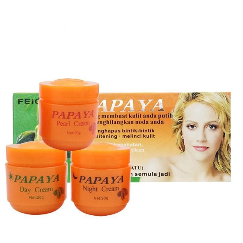 3 Bottle/set Papaya Whitening Cream Day And Night And Pearl Cream Skin Care Moisturizer Anti-freckle Refreshing Cream