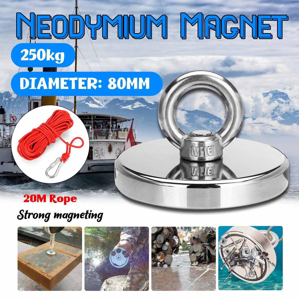 D80mm 250KG Double face puissant rond néodyme aimant crochet avec anneau + 20M corde, récupération aimant mer équipements de pêche titulaire