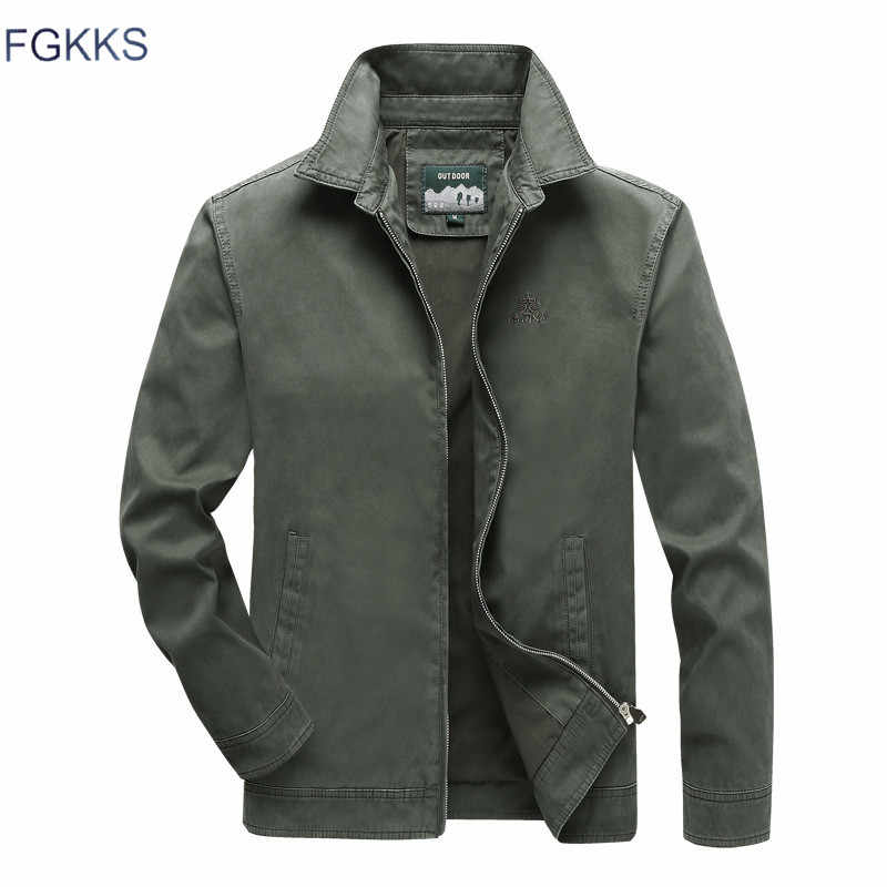 FGKKS Men High Quality Jacket Men's Military Style Solid Color Jacket Male New Fashion Casual  Jacket Brand Clothing