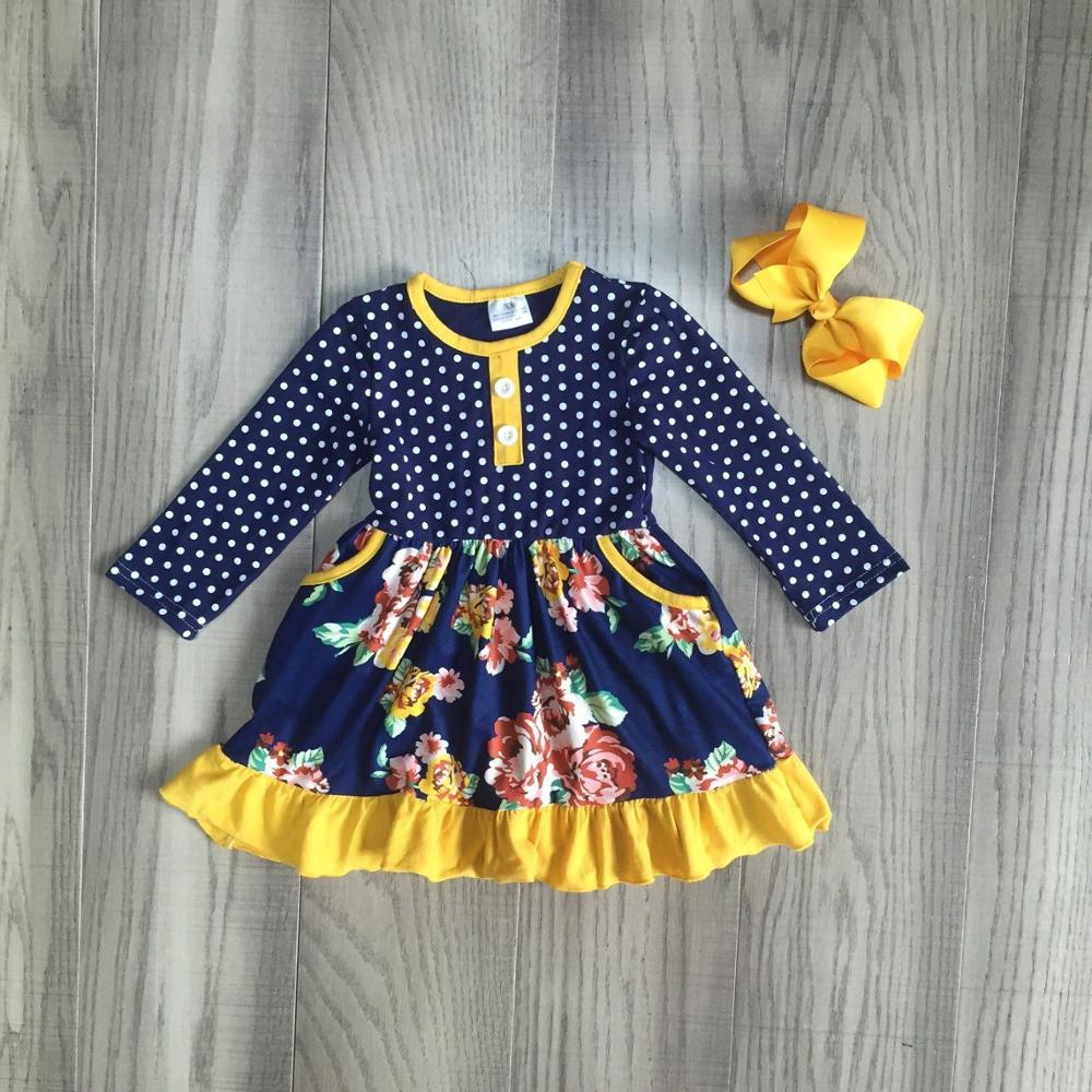 Image 2 - fall/winter baby girls clothes children mustard orange navy flower dress milk silk cotton ruffle boutique match bow knee length-in Clothing Sets from Mother & Kids