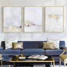Абстрактное искусство золотой и белый холст живопись современные