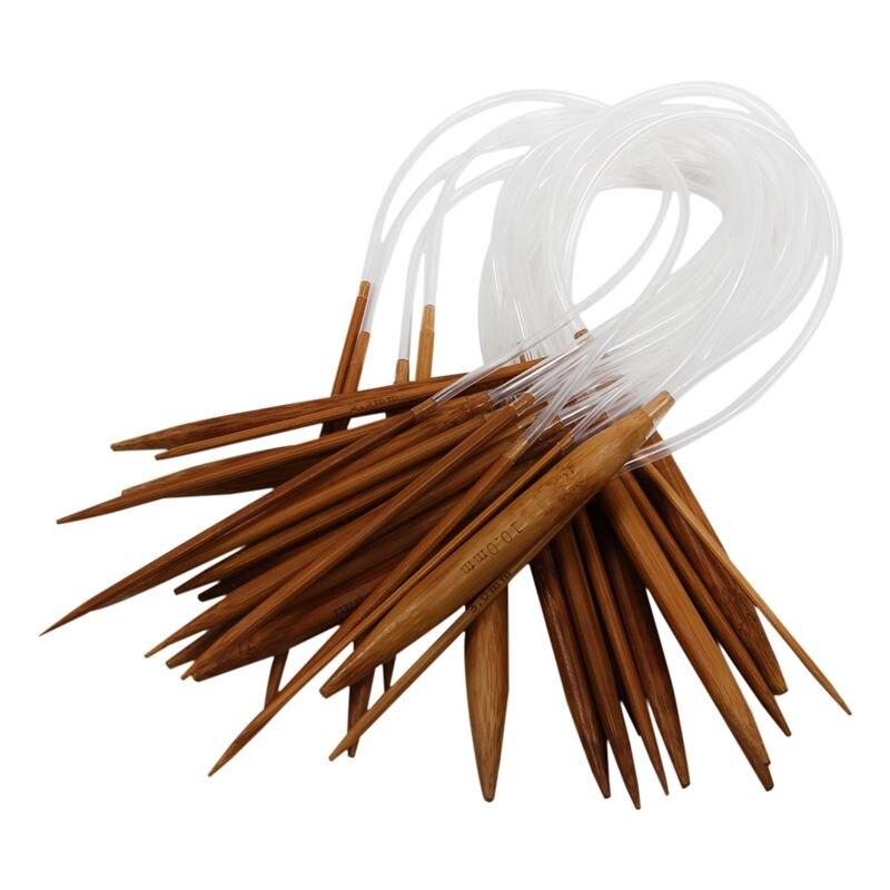 18 Pairs 16'' (40cm) Circular Carbonized Bamboo Knitting Kits Needles Set (2.0mm - 10.0mm)
