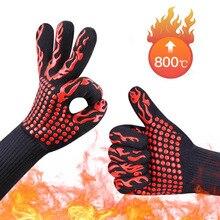 2 stücke Feuerfeste Handschuhe Grill Kevlar 500 Grad BBQ Flammschutzmittel Feuerfeste Ofen Handschuhe für Wärmedämmung Mikrowelle