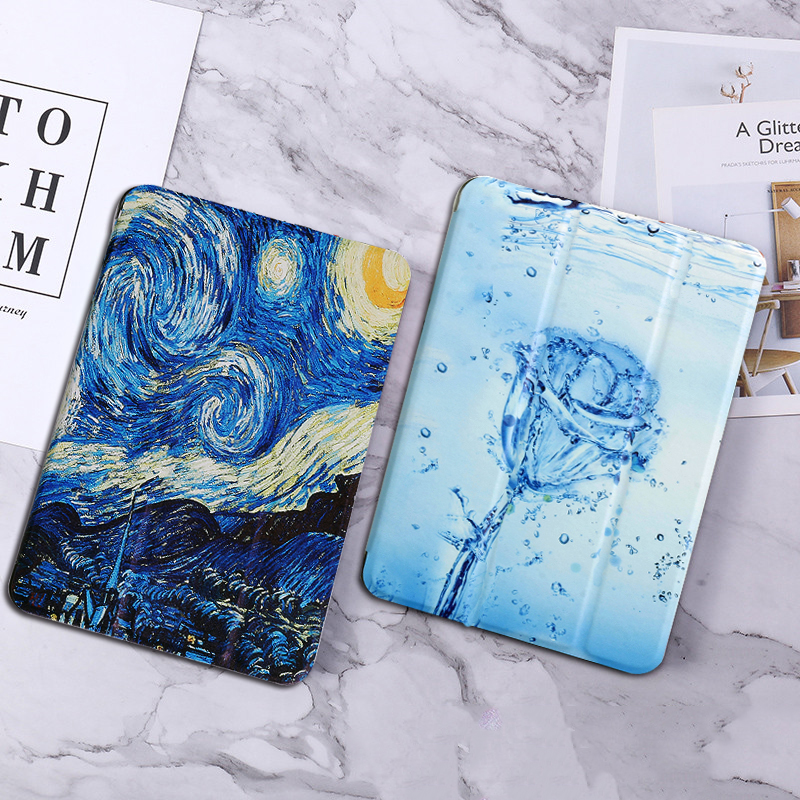 For Huawei MediaPad T5 10 AGS2-W09/L09/L03/W19 10.1 Case Painted PU Leather Tablet Cover For T5 10 Stand Smart Cover Cases