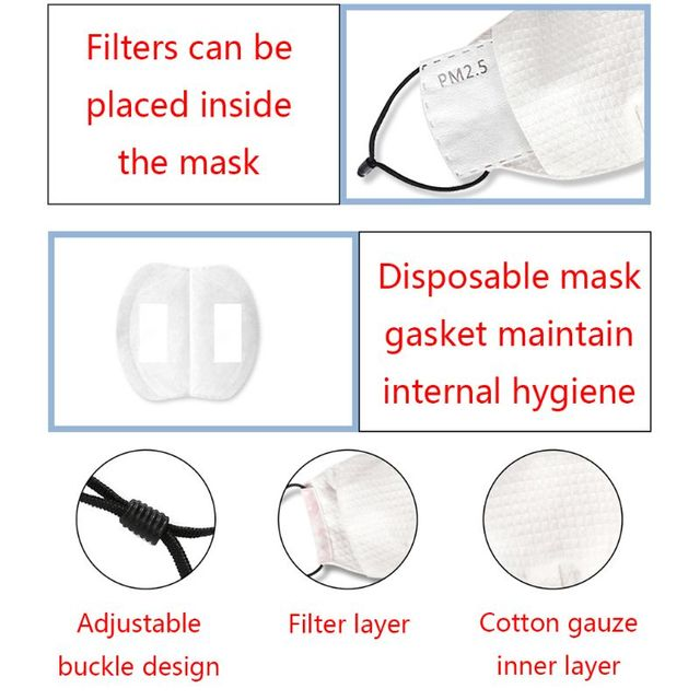 1pc Can Plug-in filter Dust Mouth Mask  Washable Reusable  Various patterns Unisex Cotton Mask for Adult Kids 4