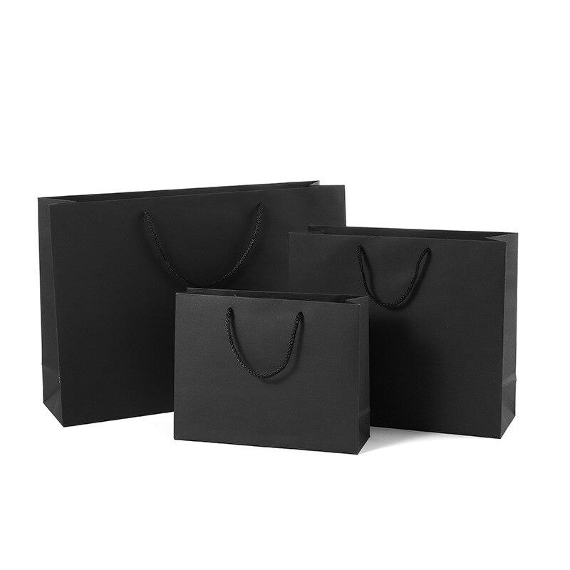 1pc/lot black Gift Bags Kraft Packaging Handle Paper Storage Bag for Wedding Candy Favor Bag With Handle Gift Bag With Handles
