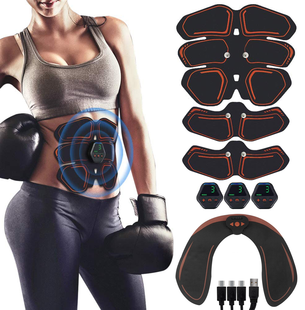 Drop shipping EMS Abdominal Muscle Stimulator Hip Trainer Toner USB Abs Fitness Training Gear Machine Home Gym Body Slimming abs