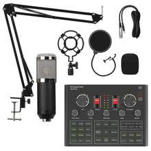 Bm800 condensador microfone placa de som v9x pro mixer transmissão ao vivo conjunto gravação microfone telefone k música computador karaoke cantar